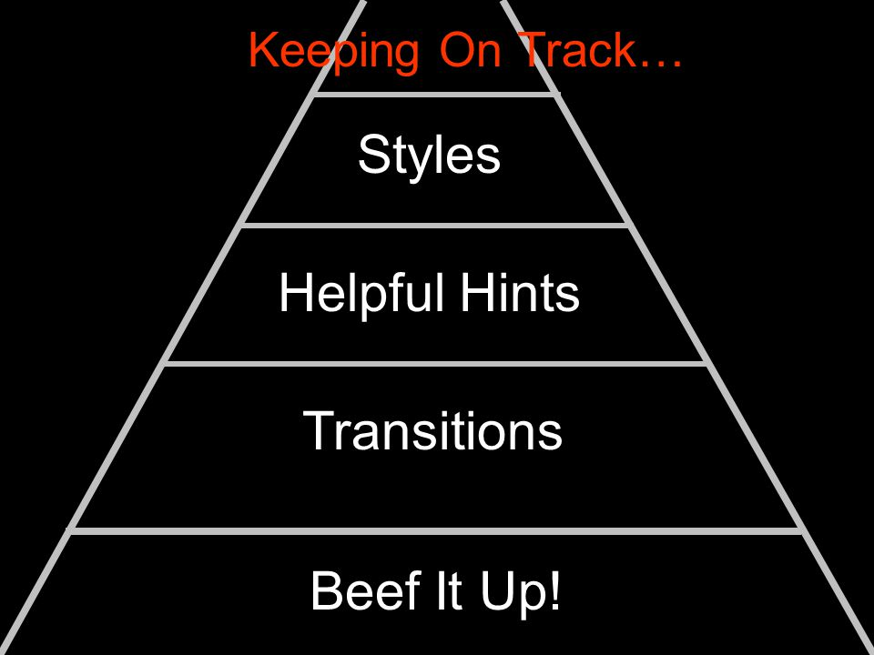 Styles Helpful Hints Transitions Beef It Up! Keeping On Track…