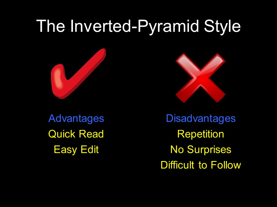 The Inverted-Pyramid Style AdvantagesDisadvantages Quick Read Easy Edit Repetition No Surprises Difficult to Follow