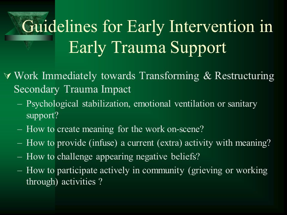 Guidelines for Early Intervention in Early Trauma Support  Work Immediately towards Transforming & Restructuring Secondary Trauma Impact –Psychological stabilization, emotional ventilation or sanitary support.