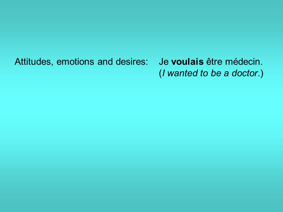 Attitudes, emotions and desires: Je voulais être médecin. (I wanted to be a doctor.)