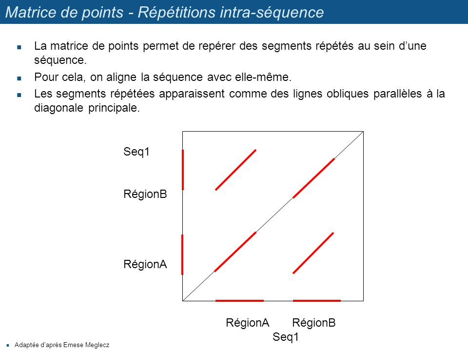 Matrice de points - Répétitions intra-séquence La matrice de points permet de repérer des segments répétés au sein d'une séquence. Pour cela, on align