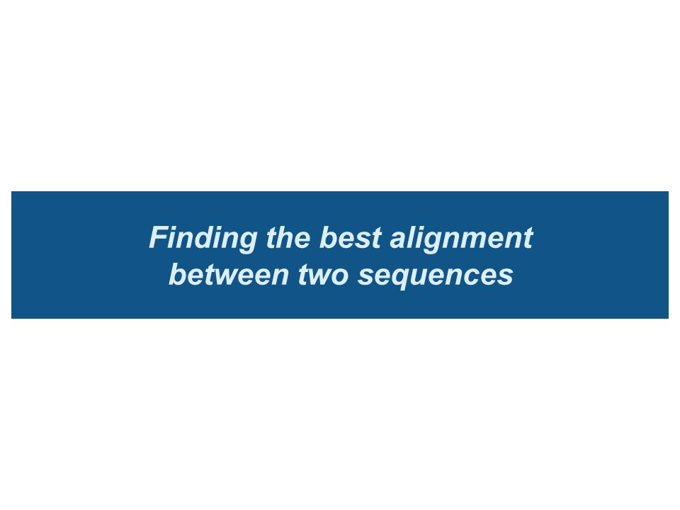 Finding the best alignment between two sequences