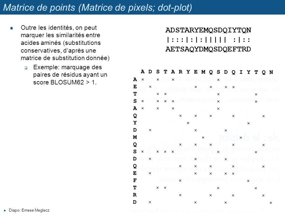 Matrice de points (Matrice de pixels; dot-plot) Outre les identités, on peut marquer les similarités entre acides aminés (substitutions conservatives, d'après une matrice de substitution donnée)  Exemple: marquage des paires de résidus ayant un score BLOSUM62 > 1.