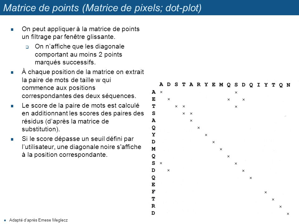 Matrice de points (Matrice de pixels; dot-plot) On peut appliquer à la matrice de points un filtrage par fenêtre glissante.