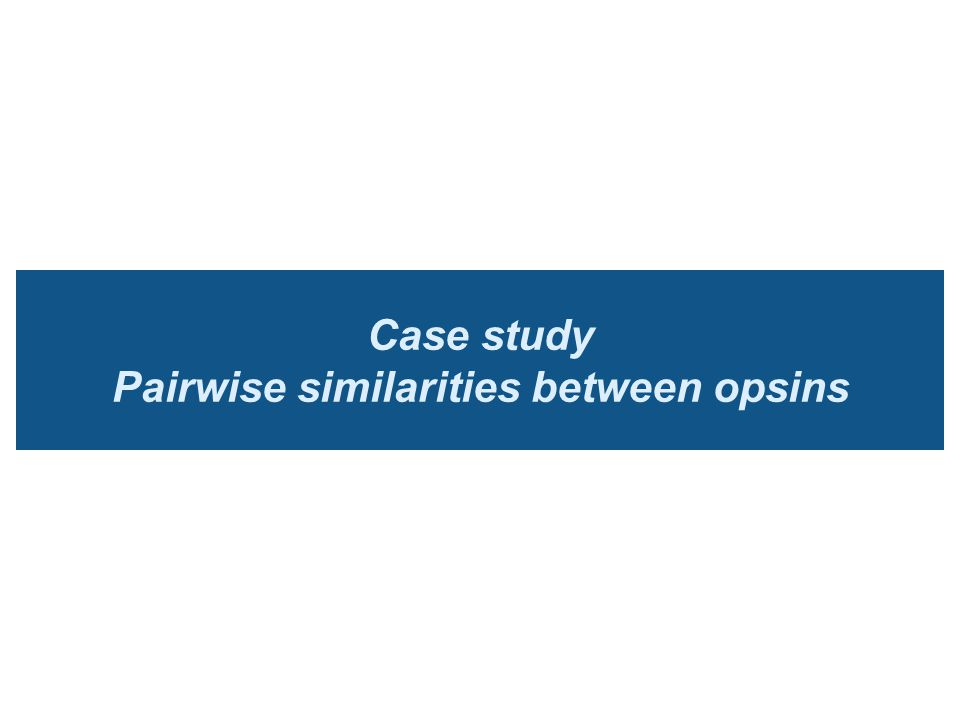 Case study Pairwise similarities between opsins