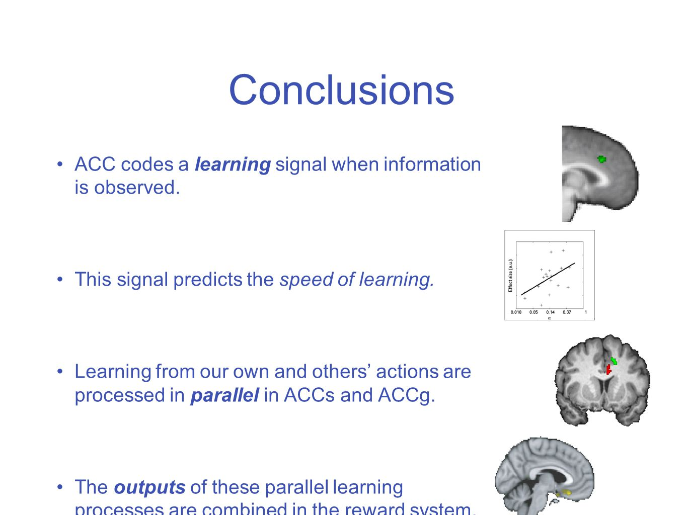 32 Conclusions ACC codes a learning signal when information is observed.