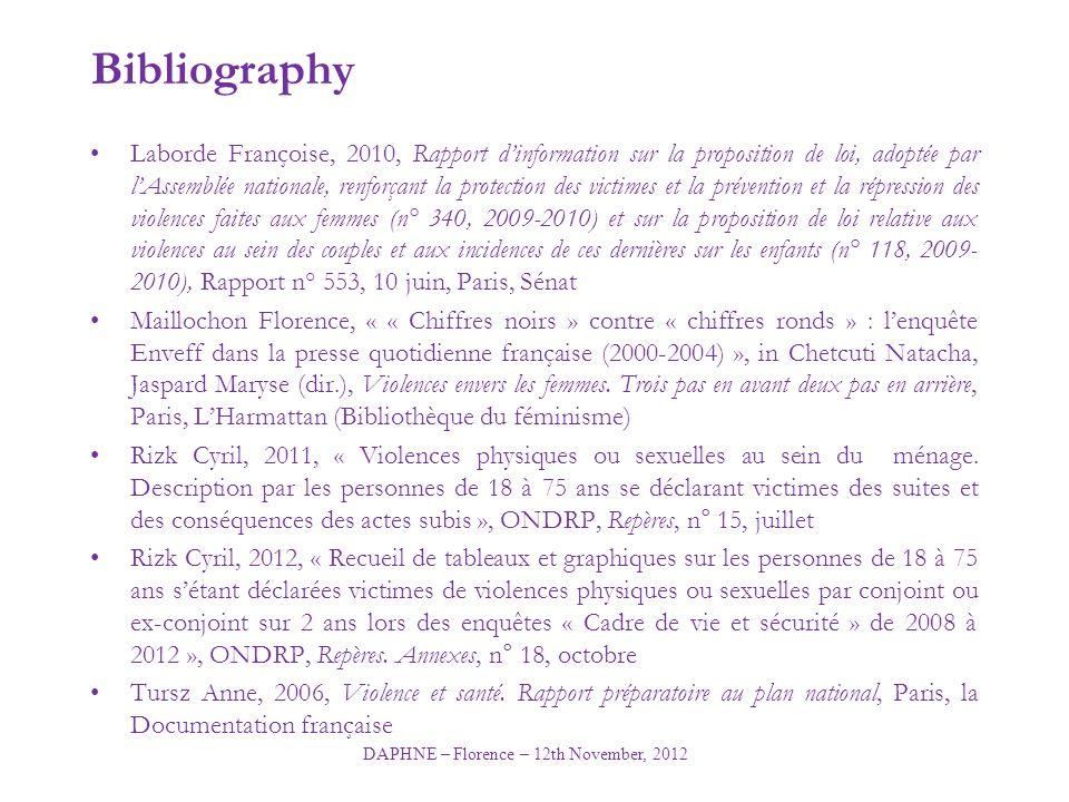 DAPHNE – Florence – 12th November, 2012 Bibliography Laborde Françoise, 2010, Rapport d'information sur la proposition de loi, adoptée par l'Assemblée