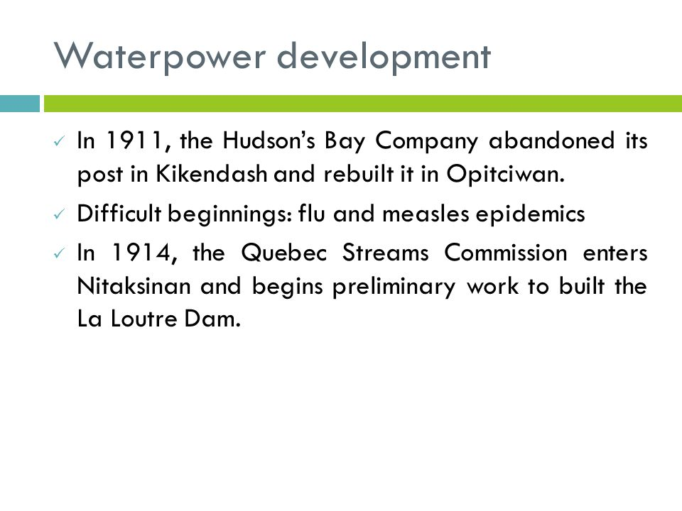 In 1911, the Hudson's Bay Company abandoned its post in Kikendash and rebuilt it in Opitciwan.