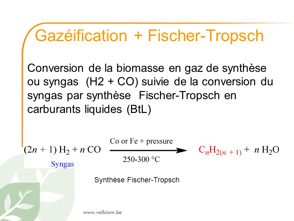 Gazéification + Fischer-Tropsch Conversion de la biomasse en gaz de synthèse ou syngas (H2 + CO) suivie de la conversion du syngas par synthèse Fische