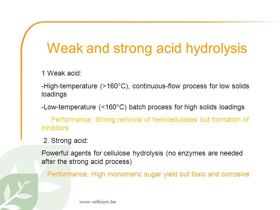 Weak and strong acid hydrolysis 1 Weak acid: -High-temperature (>160°C), continuous-flow process for low solids loadings -Low-temperature (<160°C) bat