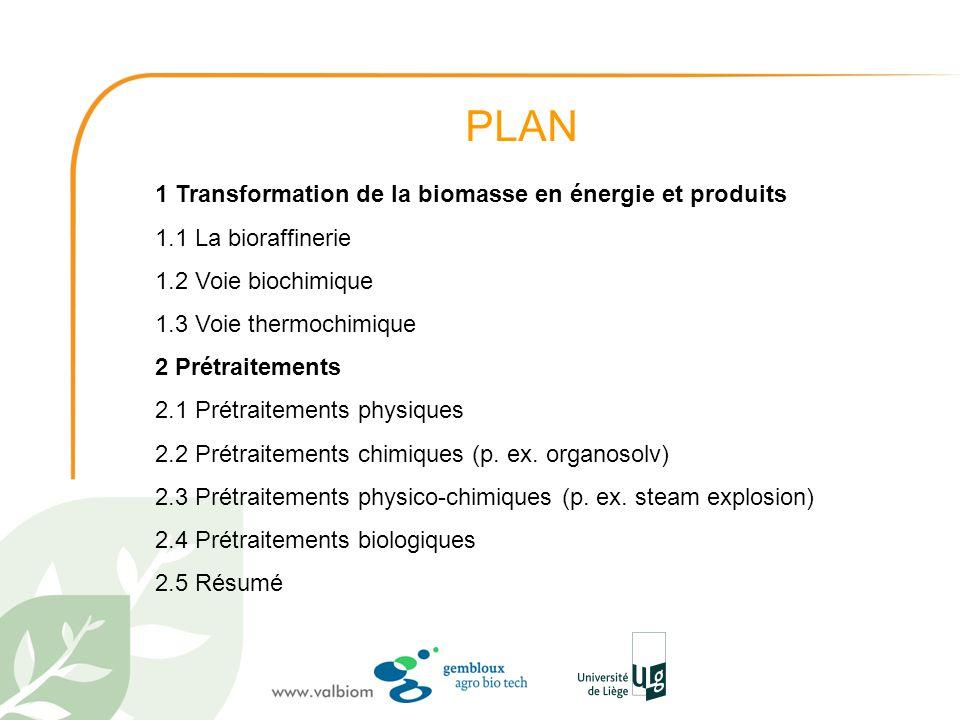 PLAN 1 Transformation de la biomasse en énergie et produits 1.1 La bioraffinerie 1.2 Voie biochimique 1.3 Voie thermochimique 2 Prétraitements 2.1 Pré