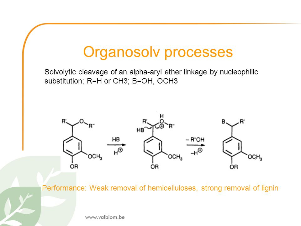 Organosolv processes Solvolytic cleavage of an alpha-aryl ether linkage by nucleophilic substitution; R=H or CH3; B=OH, OCH3 Performance: Weak removal