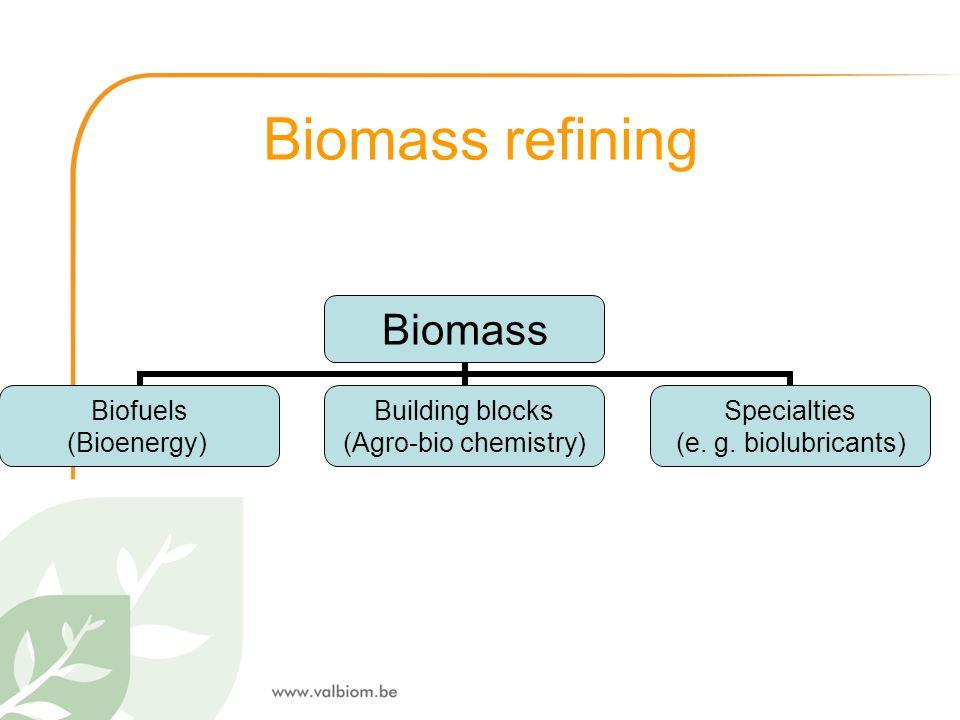 Biomass refining Biomass Biofuels (Bioenergy) Building blocks (Agro-bio chemistry) Specialties (e. g. biolubricants)