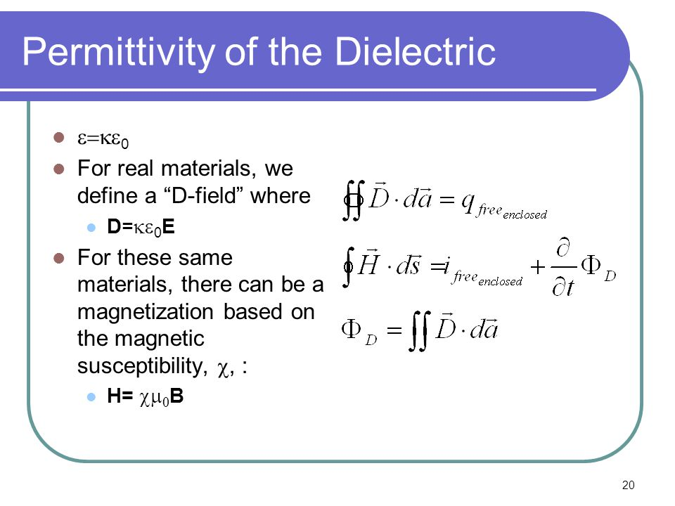 20 Permittivity of the Dielectric  0 For real materials, we define a D-field where D=  0 E For these same materials, there can be a magnetization based on the magnetic susceptibility, , : H=   B