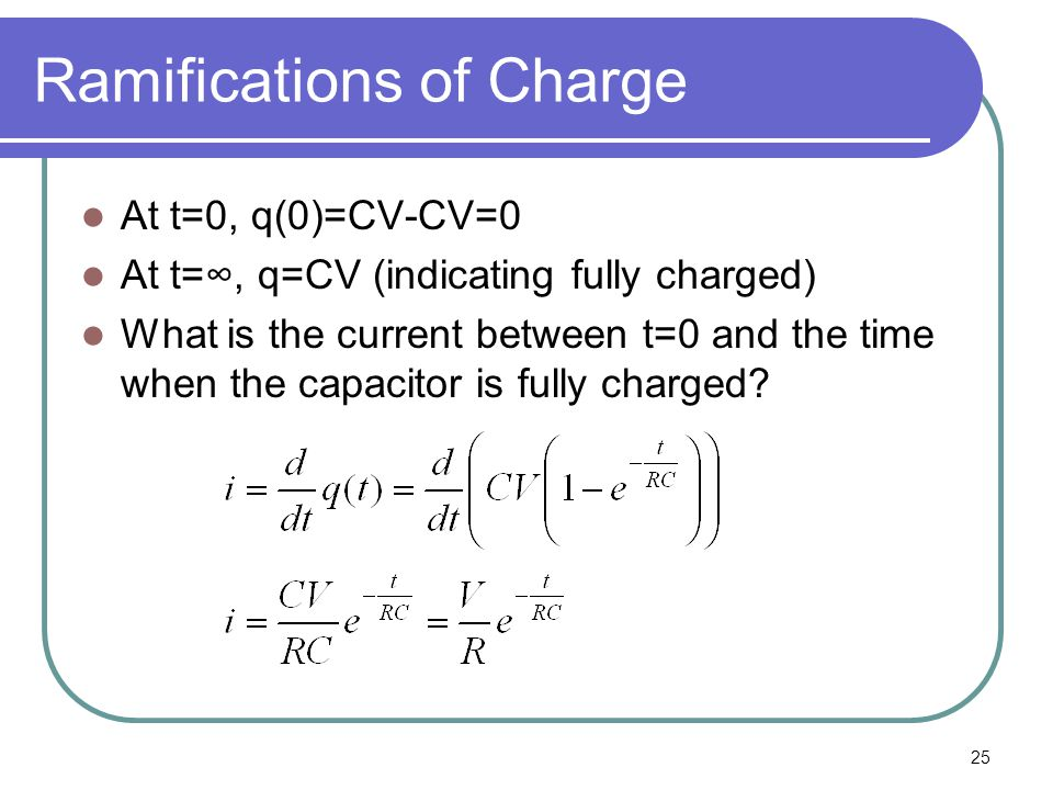 25 Ramifications of Charge At t=0, q(0)=CV-CV=0 At t=∞, q=CV (indicating fully charged) What is the current between t=0 and the time when the capacitor is fully charged