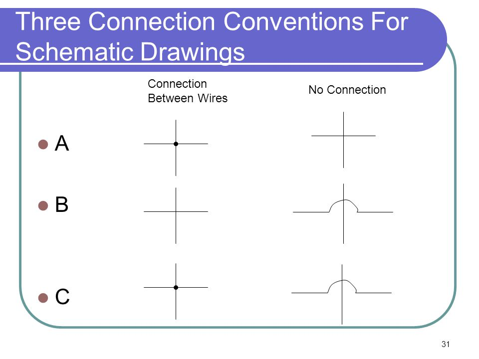 31 Three Connection Conventions For Schematic Drawings A B C Connection Between Wires No Connection