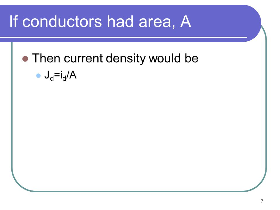 7 If conductors had area, A Then current density would be J d =i d /A