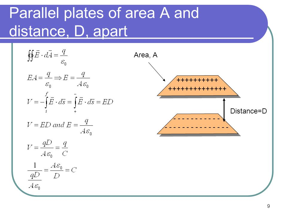 9 Parallel plates of area A and distance, D, apart ++++++++++ ++++++++++++++ - - - - - - - - - - - - - - - - - - - - - - - - - - Distance=D Area, A