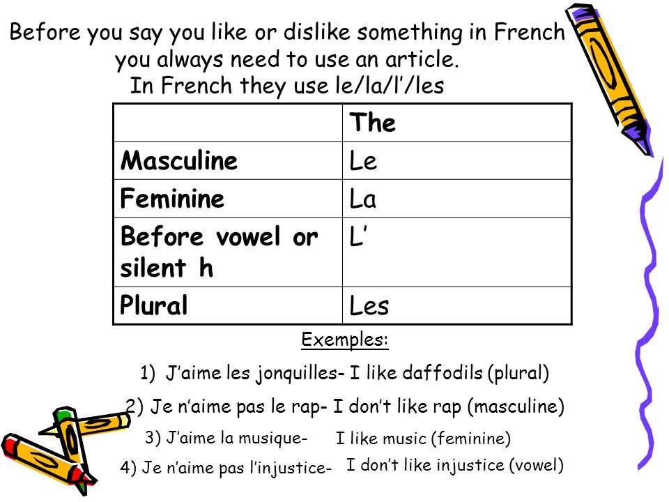 Before you say you like or dislike something in French you always need to use an article. In French they use le/la/l'/les The MasculineLe FeminineLa B