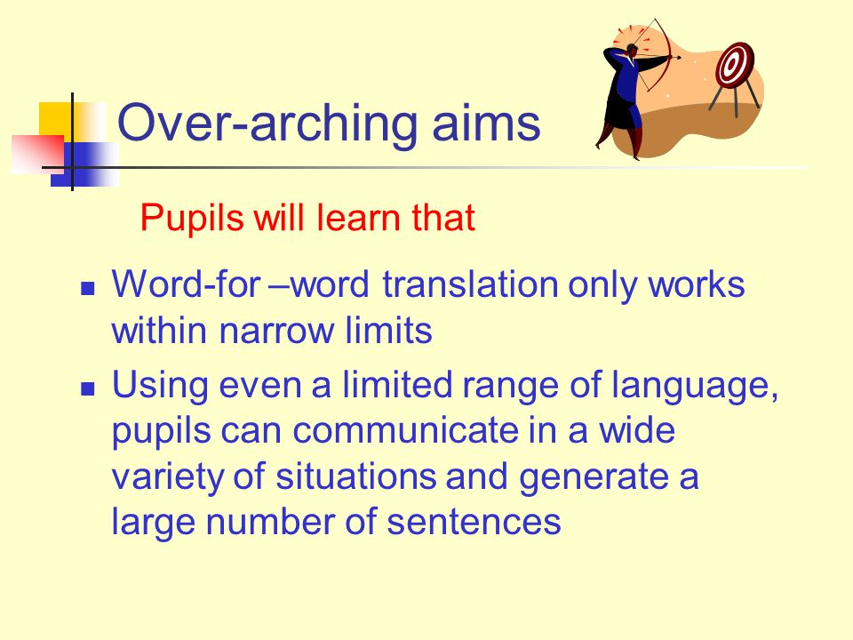 Over-arching aims Word-for –word translation only works within narrow limits Using even a limited range of language, pupils can communicate in a wide variety of situations and generate a large number of sentences Pupils will learn that
