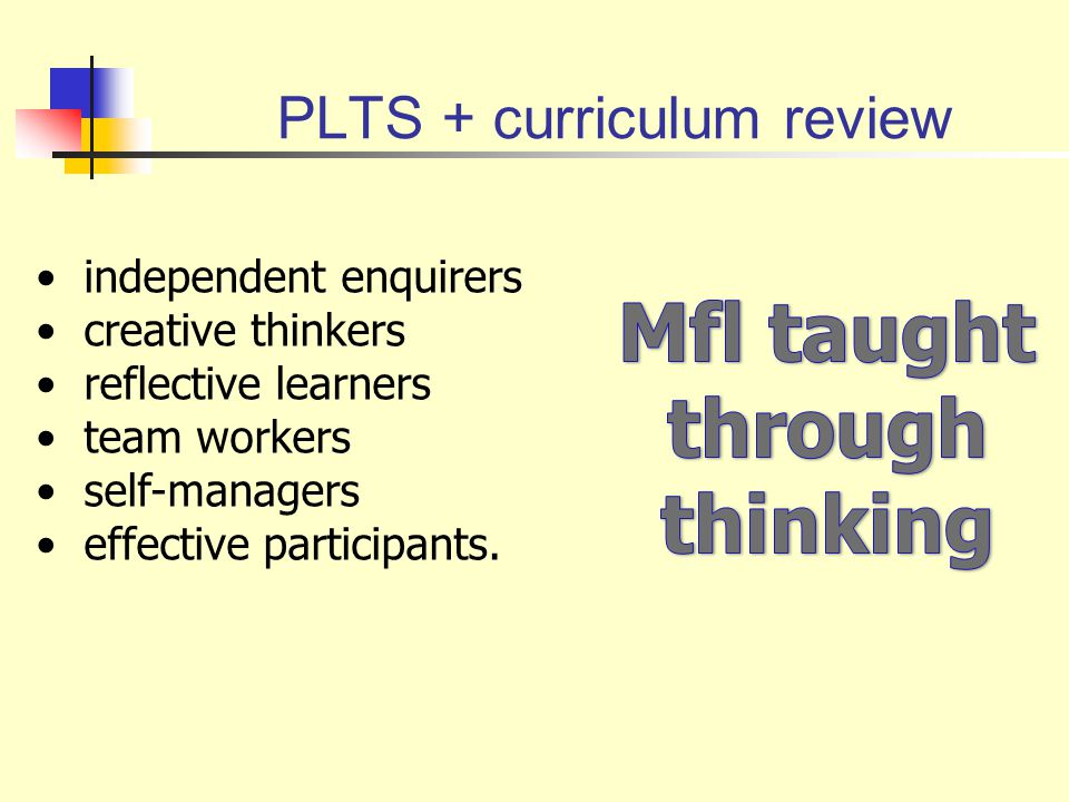 PLTS + curriculum review independent enquirers creative thinkers reflective learners team workers self-managers effective participants.