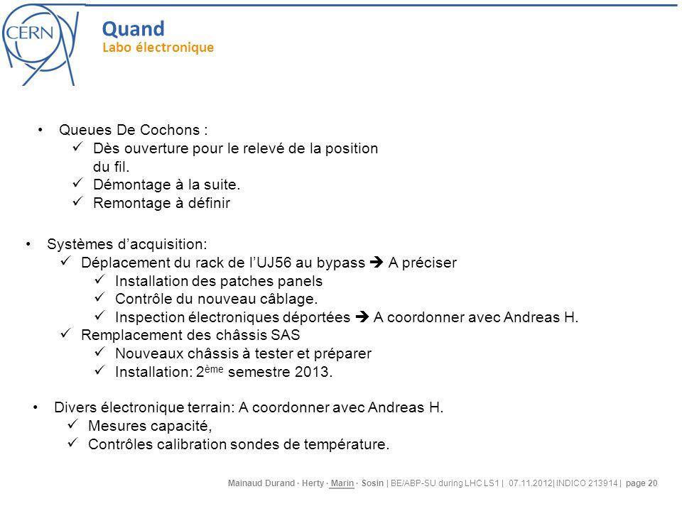 Mainaud Durand · Herty · Marin · Sosin | BE/ABP-SU during LHC LS1 | 07.11.2012| INDICO 213914 | page 20 Queues De Cochons : Dès ouverture pour le relevé de la position du fil.