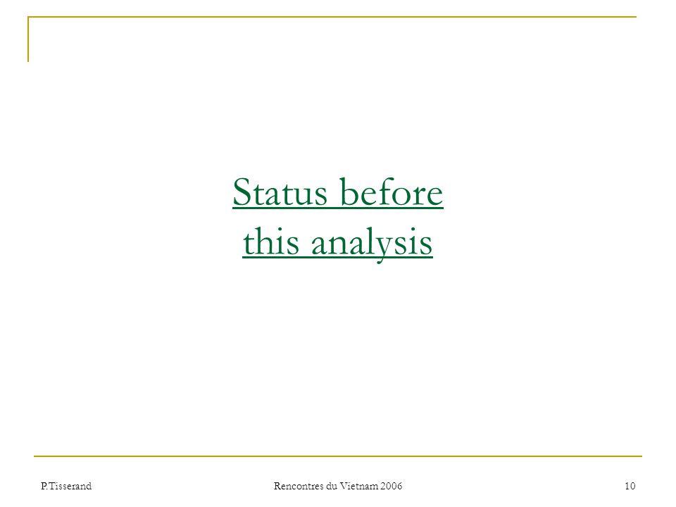 P.Tisserand Rencontres du Vietnam 2006 10 Status before this analysis