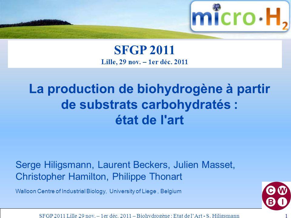 SFGP 2011 Lille 29 nov. – 1er déc. 2011 – Biohydrogène : Etat de l'Art - S.