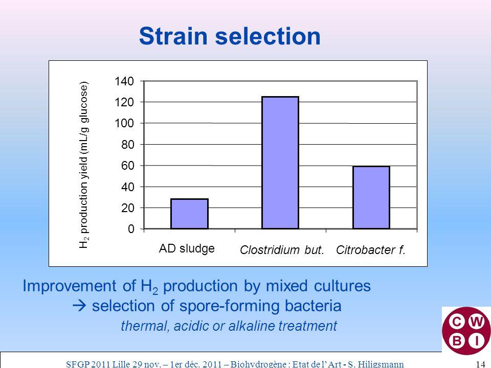 14 Strain selection 0 20 40 60 80 100 120 140 AD sludge Clostridium but.Citrobacter f.