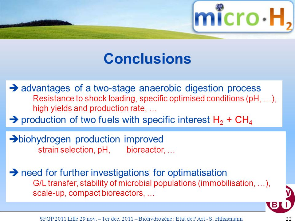 Conclusions 22  advantages of a two-stage anaerobic digestion process Resistance to shock loading, specific optimised conditions (pH, …), high yields and production rate, …  production of two fuels with specific interest H 2 + CH 4  biohydrogen production improved strain selection, pH, bioreactor, …  need for further investigations for optimatisation G/L transfer, stability of microbial populations (immobilisation, …), scale-up, compact bioreactors, … SFGP 2011 Lille 29 nov.