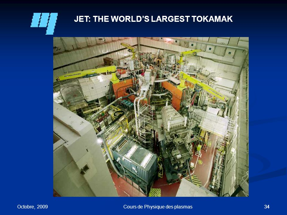 34 JET: THE WORLD'S LARGEST TOKAMAK Octobre, 2009 Cours de Physique des plasmas