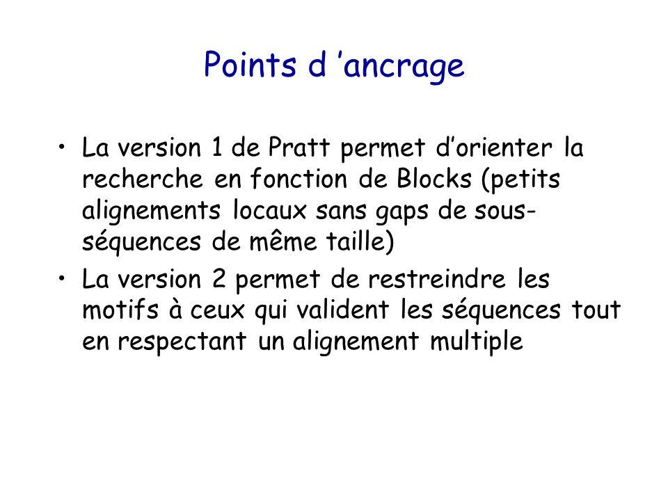 Points d 'ancrage La version 1 de Pratt permet d'orienter la recherche en fonction de Blocks (petits alignements locaux sans gaps de sous- séquences de même taille) La version 2 permet de restreindre les motifs à ceux qui valident les séquences tout en respectant un alignement multiple