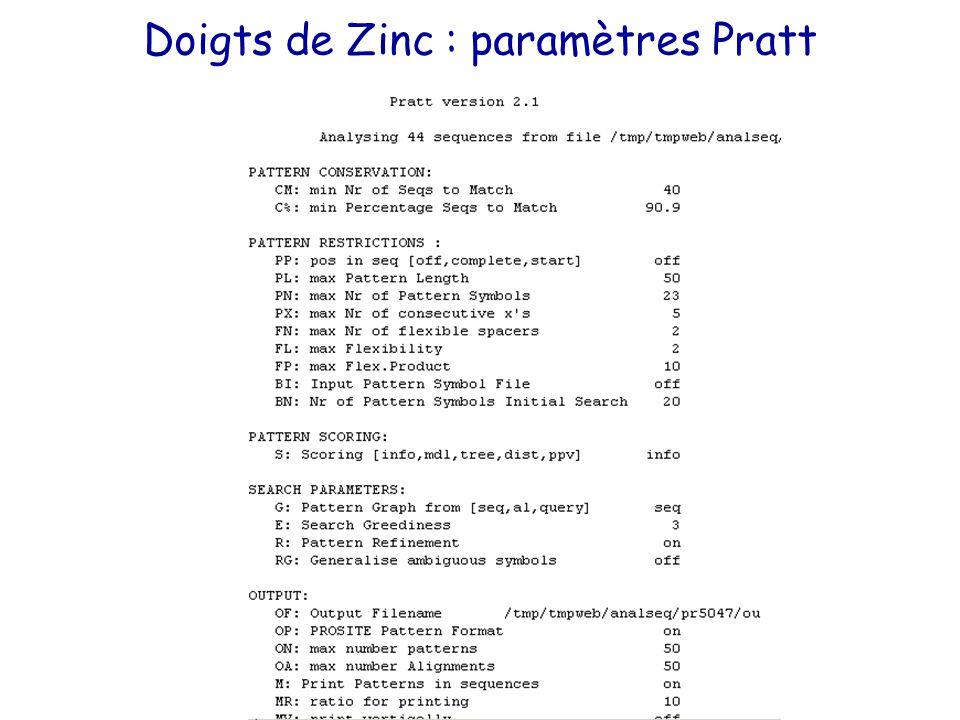 Doigts de Zinc : paramètres Pratt