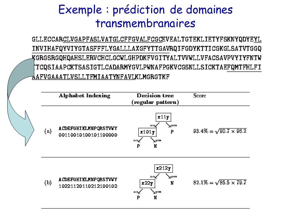 Exemple : prédiction de domaines transmembranaires
