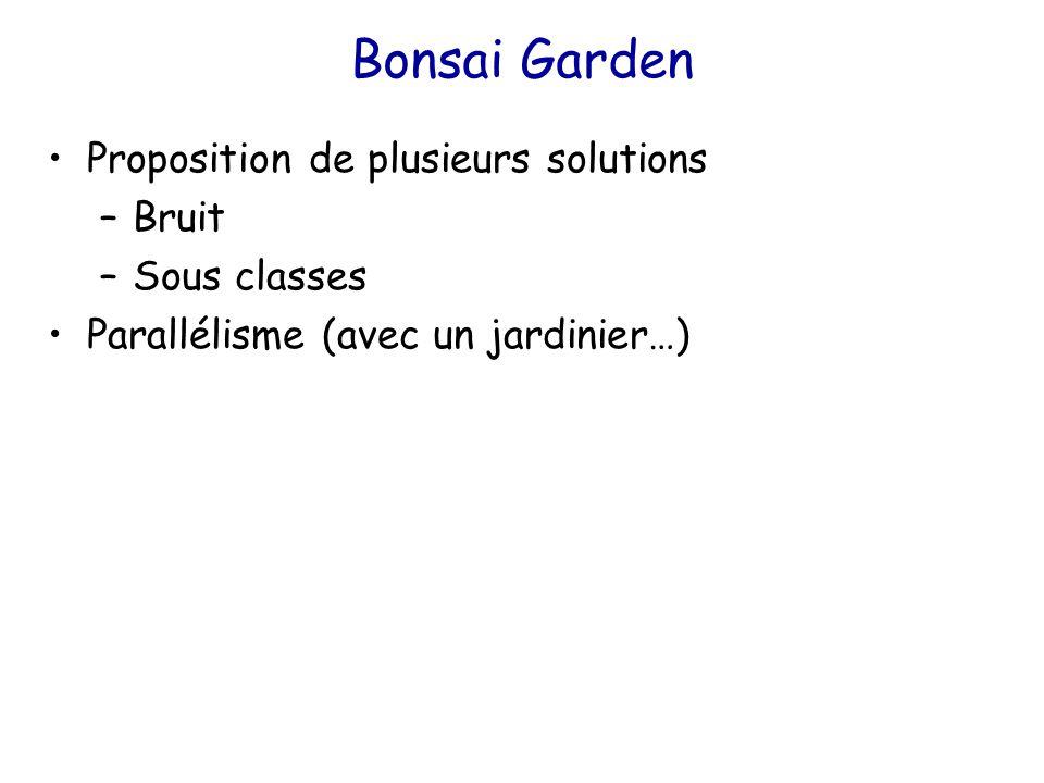Bonsai Garden Proposition de plusieurs solutions –Bruit –Sous classes Parallélisme (avec un jardinier…)