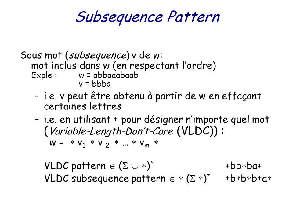 Subsequence Pattern Sous mot (subsequence) v de w: mot inclus dans w (en respectant l'ordre) Exple :w = abbaaabaab v = bbba –i.e.