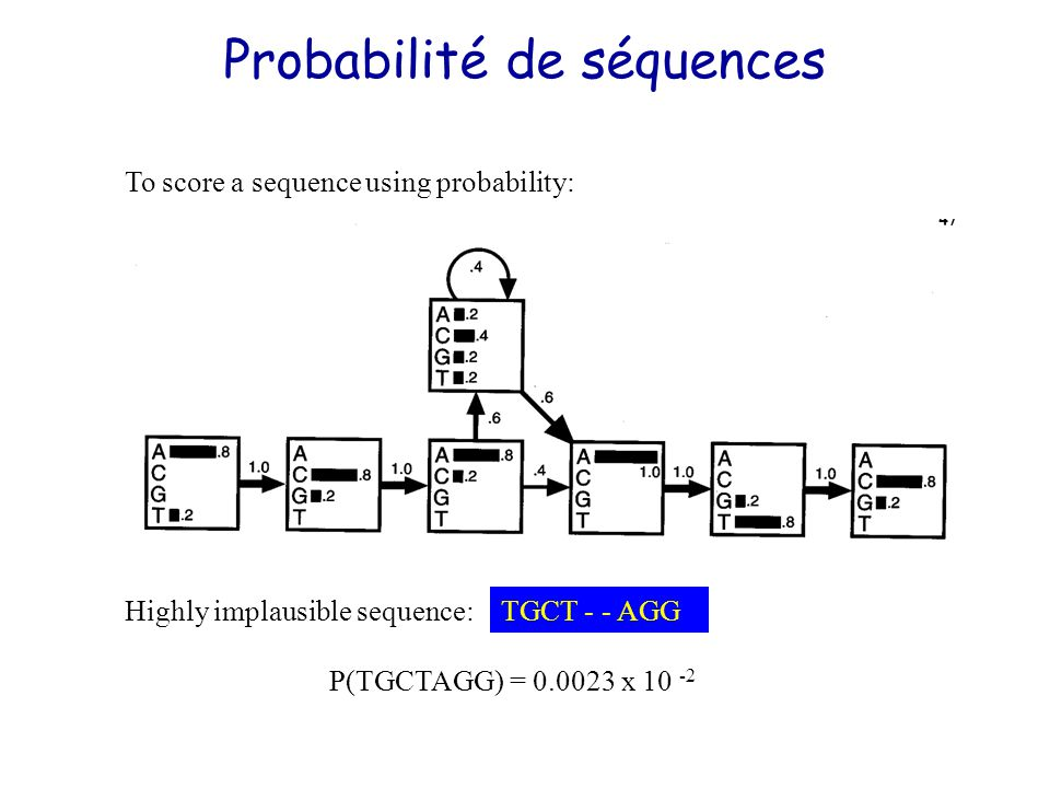 Highly implausible sequence: P(TGCTAGG) = 0.0023 x 10 -2 TGCT - - AGG To score a sequence using probability: Probabilité de séquences