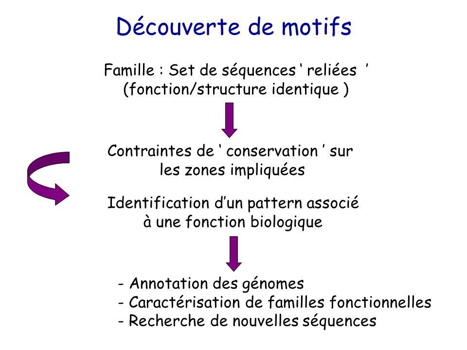 Famille : Set de séquences ' reliées ' (fonction/structure identique ) Identification d'un pattern associé à une fonction biologique - Annotation des génomes - Caractérisation de familles fonctionnelles - Recherche de nouvelles séquences Contraintes de ' conservation ' sur les zones impliquées Découverte de motifs