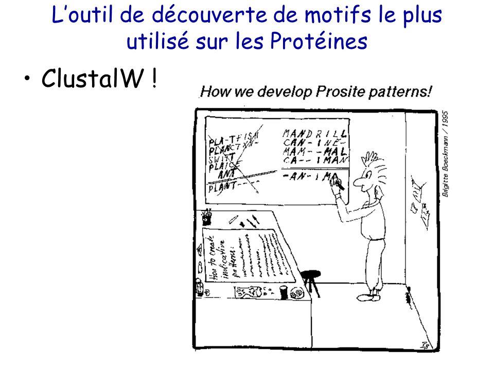 L'outil de découverte de motifs le plus utilisé sur les Protéines ClustalW !