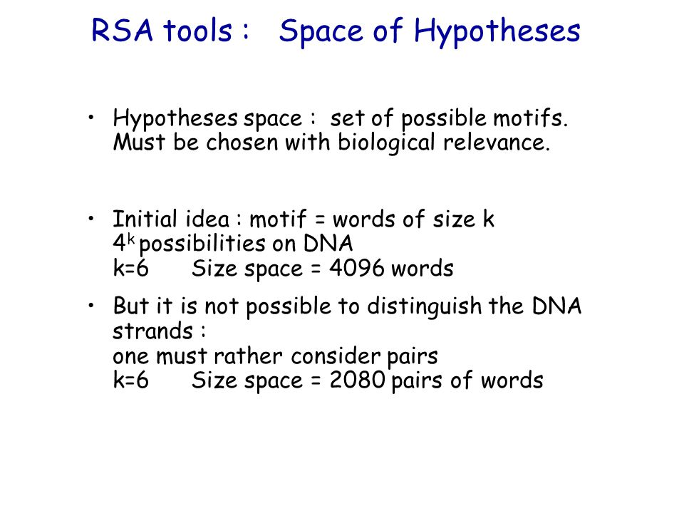 RSA tools : Space of Hypotheses Hypotheses space : set of possible motifs.
