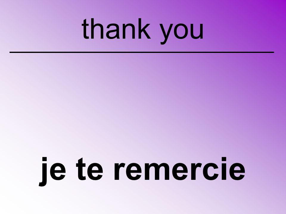 je te remercie thank you