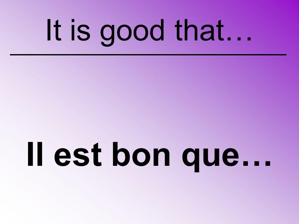 Il est bon que… It is good that…