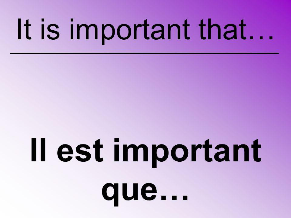 Il est important que… It is important that…