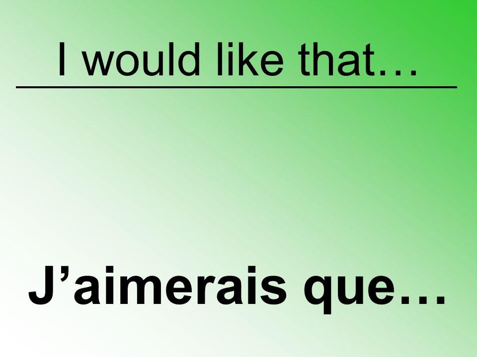 I would like that… J'aimerais que…
