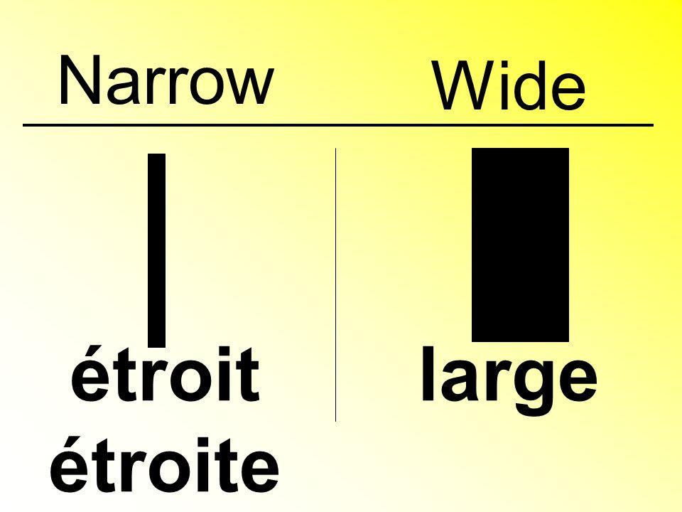 Narrow étroit étroite large Wide