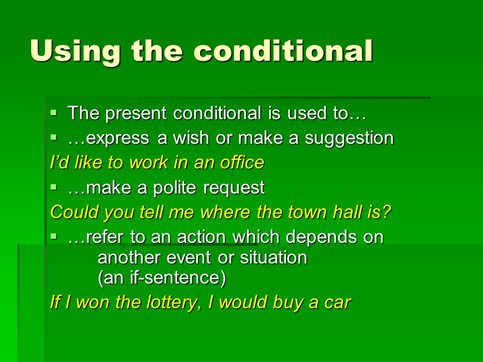 Forming the conditional TTTThe conditional is simple to form once you are confident with the future and imperfect tenses TTTThe conditional is made with… THE SAME STEM AS THE FUTURE TENSE THE SAME ENDING AS THE IMPERFECT