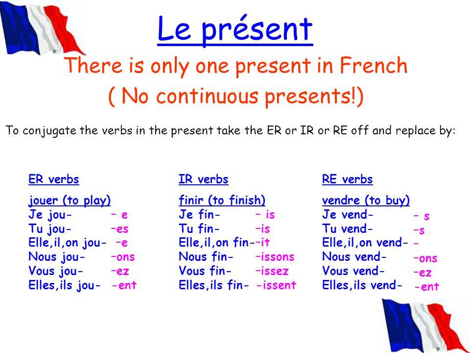 Le présent There is only one present in French ( No continuous presents!) ER verbs jouer (to play) Je jou- Tu jou- Elle,il,on jou- Nous jou- Vous jou-