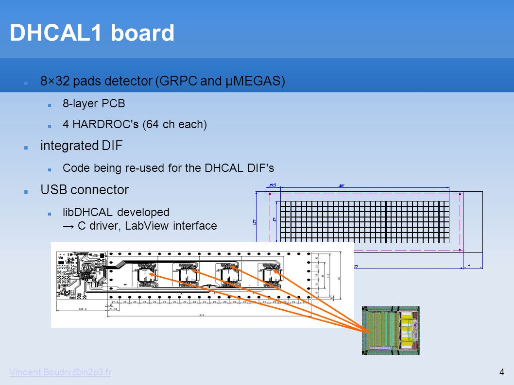 Vincent.Boudry@in2p3.fr4 DHCAL1 board 8×32 pads detector (GRPC and µMEGAS)‏ 8-layer PCB 4 HARDROC s (64 ch each)‏ integrated DIF Code being re-used for the DHCAL DIF s USB connector libDHCAL developed → C driver, LabView interface