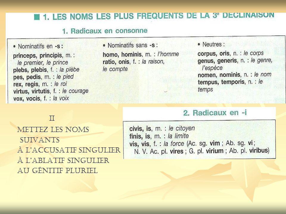 II II Mettez les noms suivants suivants à l'accusatif singulier à l'ablatif singulier au génitif pluriel