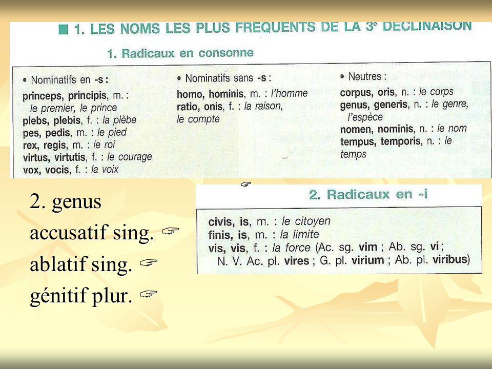 2. genus accusatif sing.  ablatif sing.  génitif plur.  